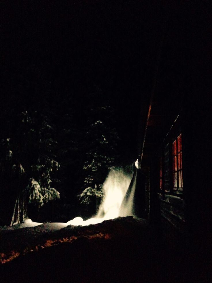 Snow coming down from the roof. My cabin