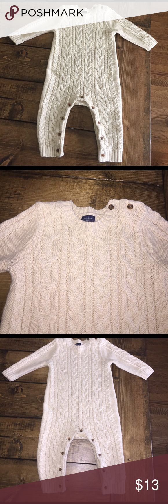 Baby Gap Cable Knit Cream One Piece Outfit Baby Gap Long Sleeved Cable Knit Cream One Piece Outfit GAP One Pieces Bodysuits