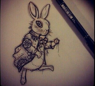 White rabbit pencil sketch. Alice in Wonderland tattoo. I have this tattoo on my left ribcage.