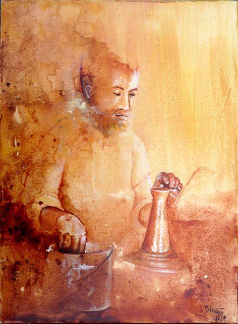 Le potier - Maroc - peinture de Bivan artiste peintre - http://bivan.net