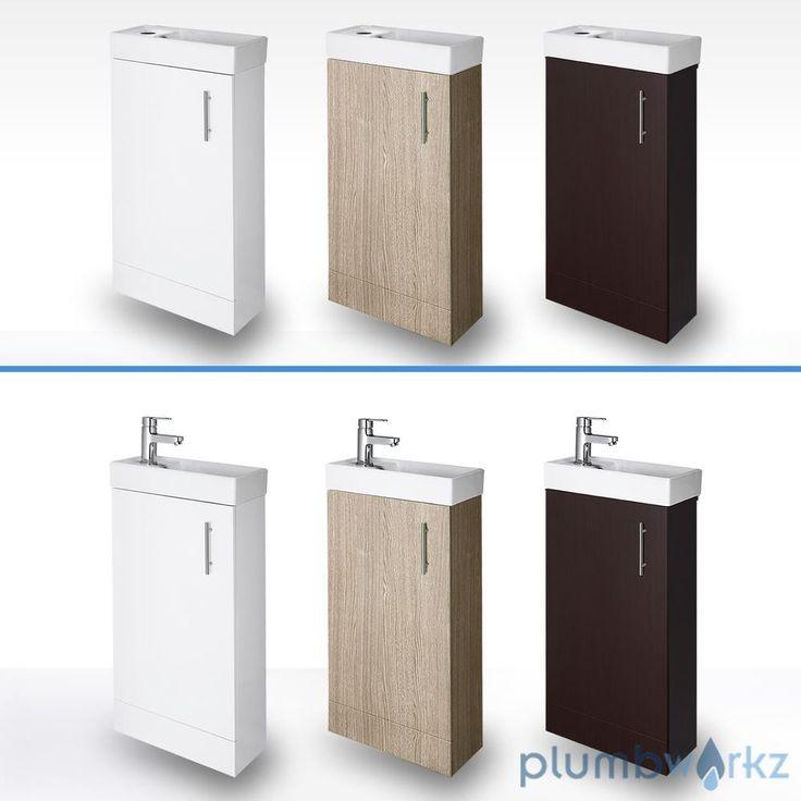 Compact Bathroom Vanity Unit & Basin Sink Cloakroom 400mm Floor Standing