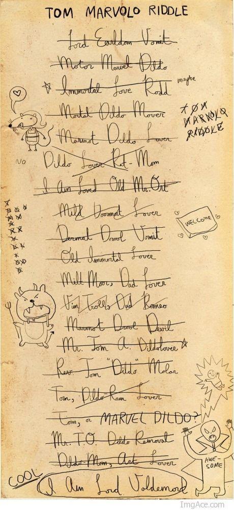 Hahahahaha, Voldemorts name list