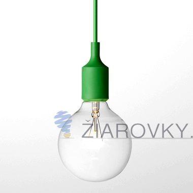 Závesný silikónový luster s textilnou zatočenou šnúrou v zelenej farbe. Závesné svietidlo (stropné svietidlo, luster) je kvalitný a zároveň moderný typ stropného lustru vyrobené z kvalitného silikónu. Vodič (drôť) je obalený v zakrútenej textilnej šnúre.  www.ziarovky.eu