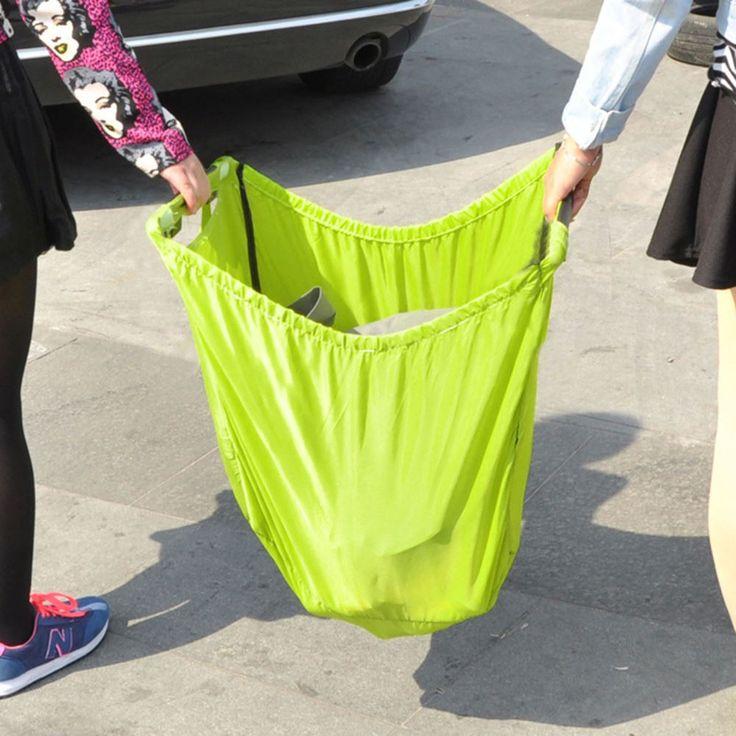 Green Waterproof Nylon Reusable Supermarket Shopping Bag Foldable Reusable Grocery Storage Bags Travel Portable Sundries Bag #Affiliate