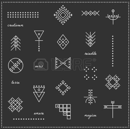 Reihe von geometrischen Formen Trendy Hipster Icons und Logos Religion Philosophie Spiritualit t Okk Lizenzfreie Bilder