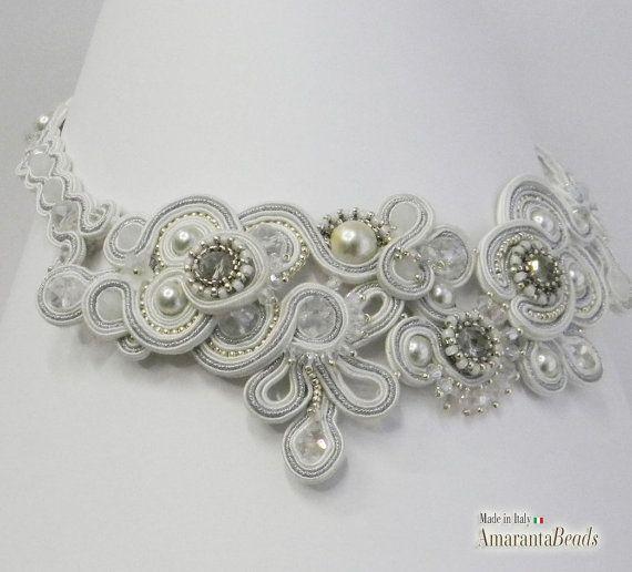 Bianco e Argento per il girocollo da sposa di AmarantaBeads
