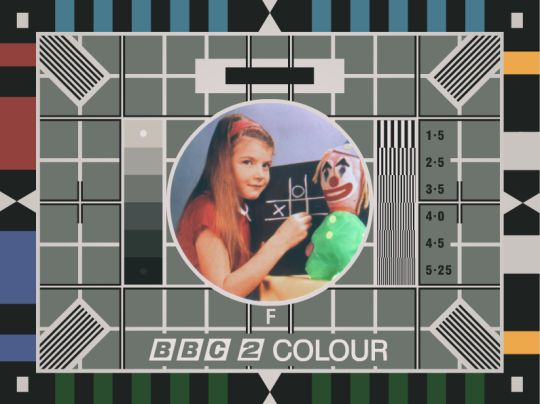 Test Card F. The first BBC colour test card broadcast on July 2nd, 1967, the day after the first colour broadcast..