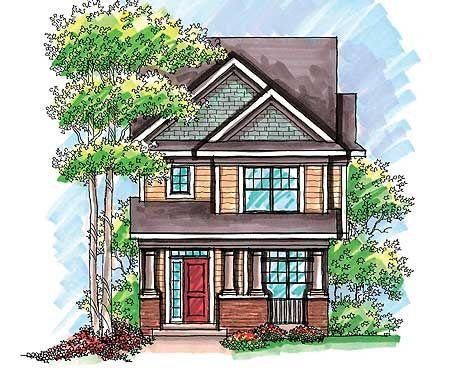 12 best narrow home design images on pinterest narrow for Narrow corner lot house plans