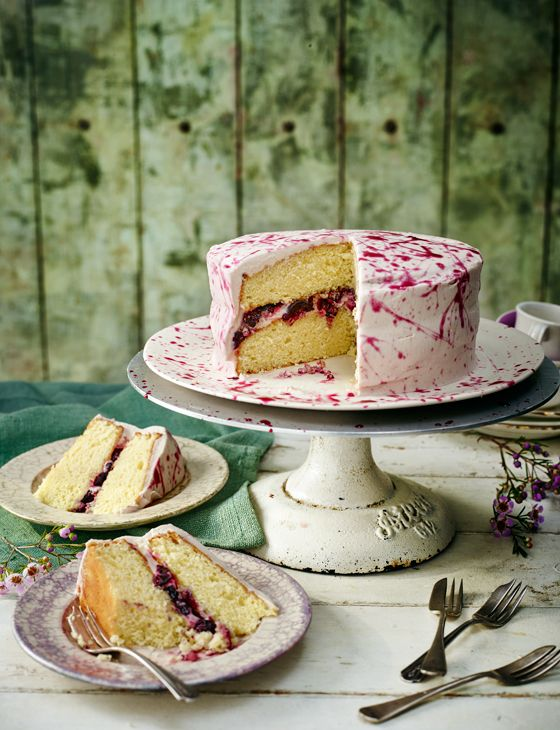 Boozy blueberry and lime cake, with Jackson Pollock-style drizzle - an absolute showstopper!