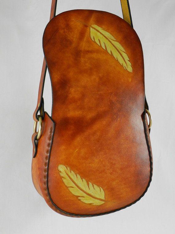 Latigo cuero bolso hecho a mano tallados a por KawValleyLeather