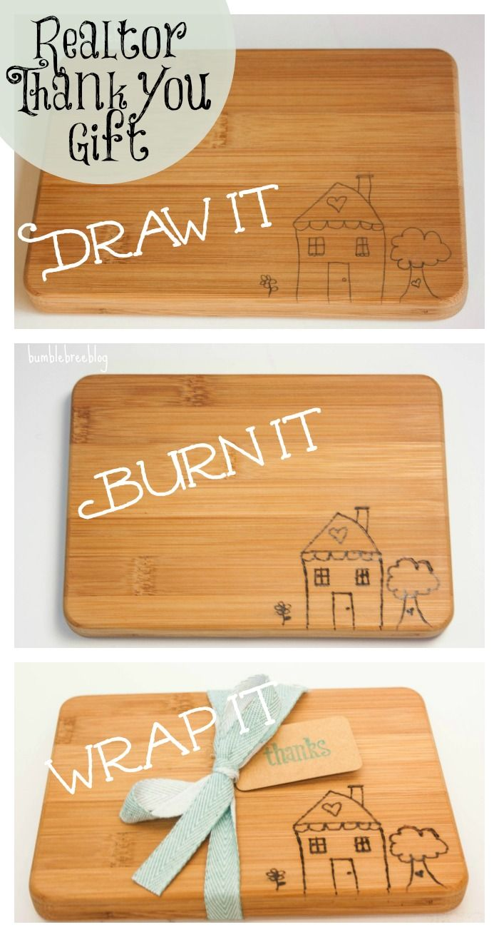 Realtor thank you gift great housewarming gifts all for Diy personalized wood cutting board