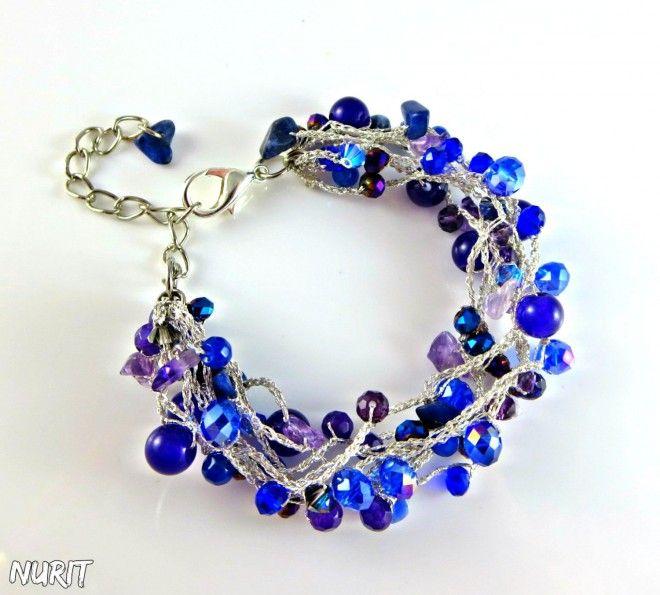 #Purplebluebracelet, #amethystbracelet, #crochetjewellery, #multistrandbracelet, #sapphirebracelet, #crystalbracelet, #bohochic, #Swarovski