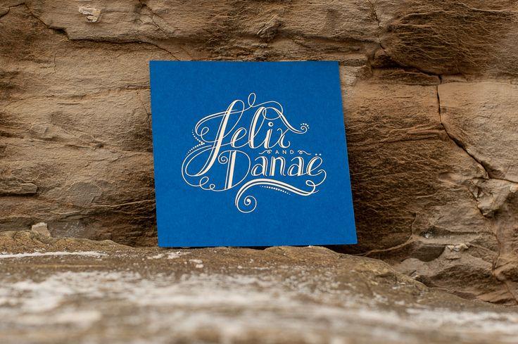 Felix & Danae's Wedding, print design, gold foil, hand drawn typography, blue card stock - Drawcard