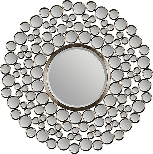 This awesome design features dozens of small mirrors and a large bevelled round mirror in a satin-nickel plated metal frame. Fashionable and chic, this mirror is a great addition to your home décor!