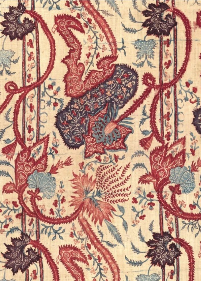 """Early-18th-Century Indian Chintz (hand-painted and dyed cotton) inspired by a bizarre silk. Will be shown at The Met fall 2013 in """"Interwoven Globe""""    Image via http://www.hali.com  http://metmuseum.org"""