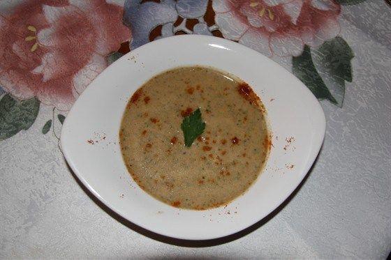 Суп пюре из телятины со спаржей и шпинатом