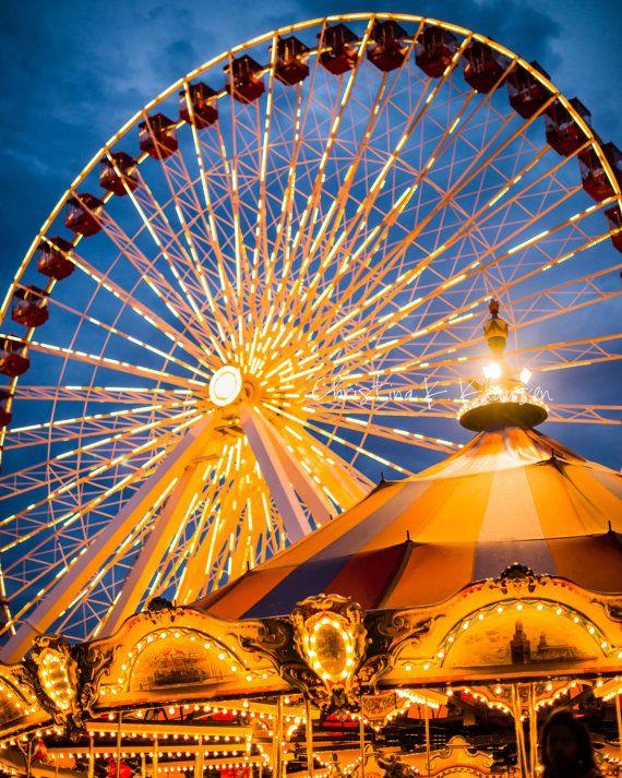 Ferris Wheel Navy Pier Photograph  Chicago Landscape by cklausen, $26.00