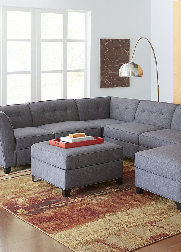 A modular sectional sofa can customize to your taste, so you can always fit it in your favorite room. Start a conversation in your new family room with this Harper Fabric 6-Piece sectional!