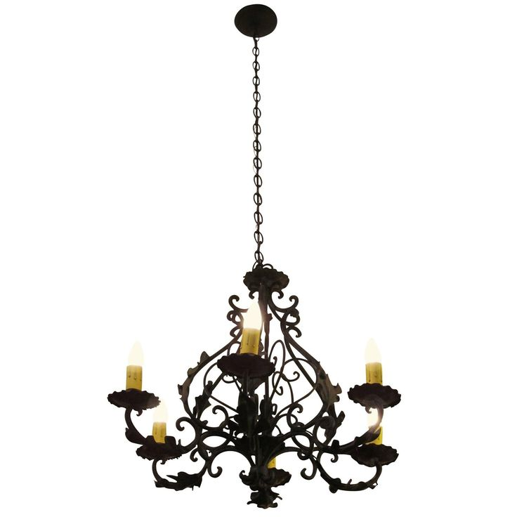 1980s, Black Iron Six-Light Chandelier with Leaves
