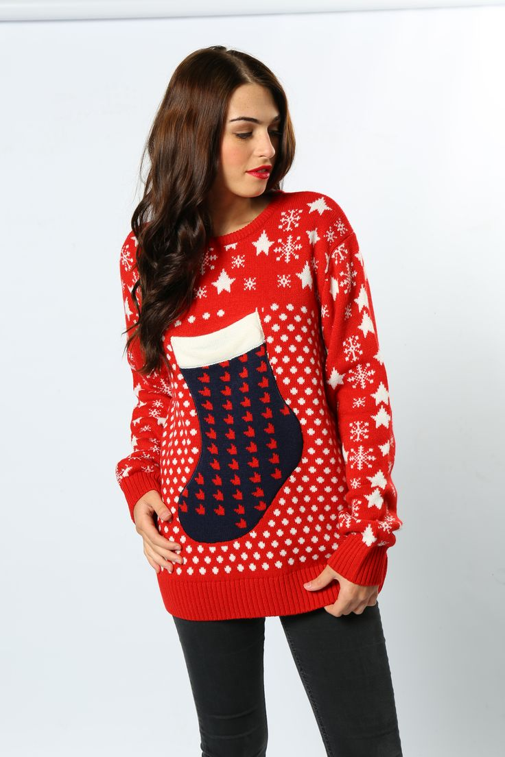 Ditch the handbag and keep your belongings in this fully functioning stocking jumper! Practical and stylish #ChristmasStocking #ChristmasJumper #WomansFashion #GiftIdeas #AdultsClothing #TheChristmasJumperGrotto #Wholesale #Novelty #Festive
