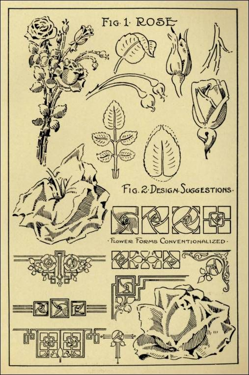 """Rose Patterns in """"Monumental Drawing and Lettering: The Rose in Applied Ornament"""" (1926)"""
