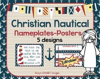 Sail into a new school year with these nautical desk nameplates with matching wall scripture posters.  There are 5 designs!  Powerpoint format--You can edit them by adding the name of the student on the nameplate. Great for Christian classroom, Sunday School or other church groups!