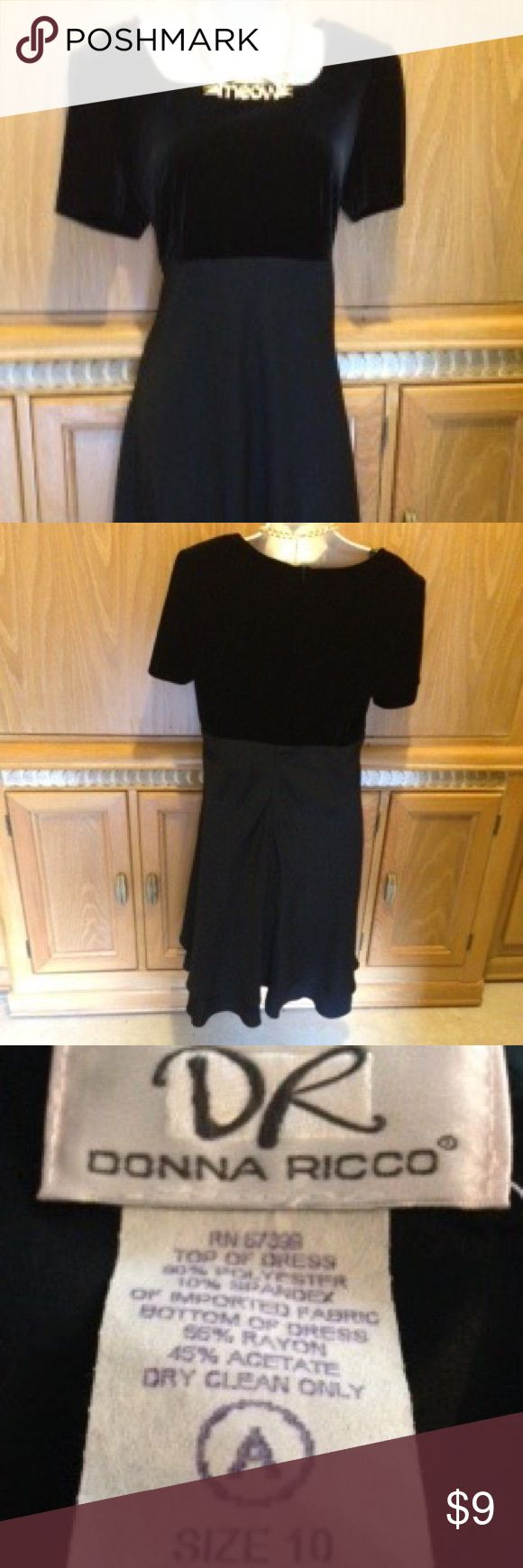 Black dress by Donna Ricco Beautiful black imported fabricated dress. Used. In near new condition. SZ 10. Donna Ricco Dresses Prom