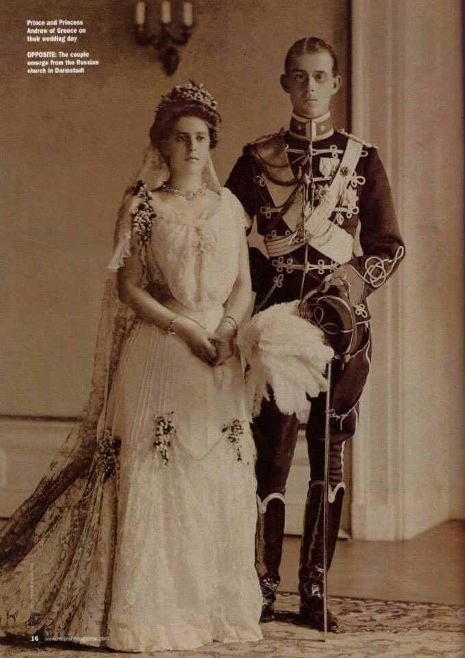 Prince and Princess Andrew of Greece on their wedding day