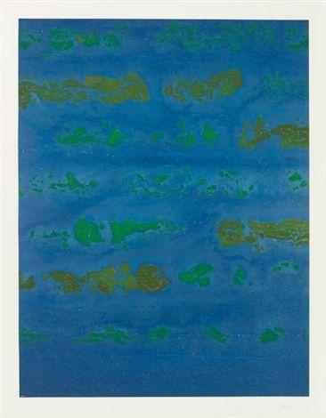 Composition verte et bleue par Judit Reigl (b 1923)