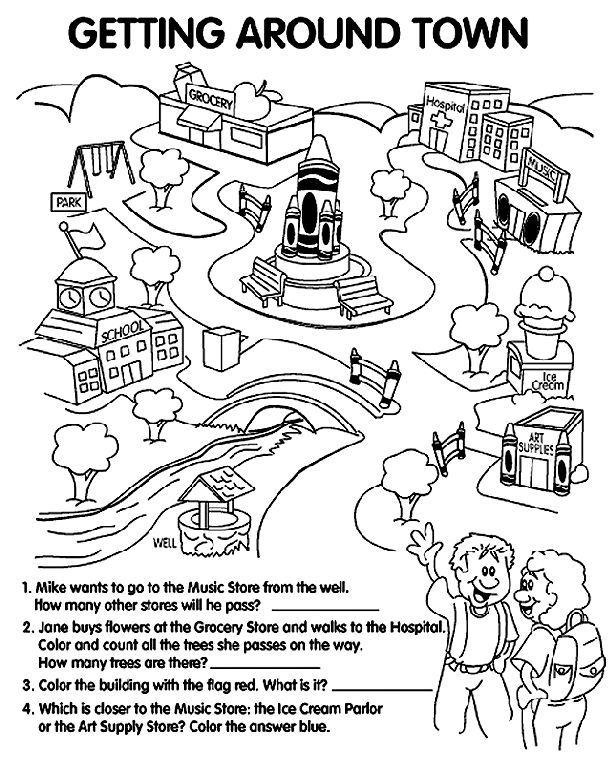 places around town coloring pages | 99 best My Community images on Pinterest | City, Air dry ...