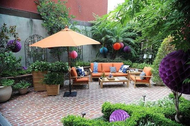 Landscaping And Outdoor Building , Landscaping The Small Courtyards : Small Courtyards With Outdoor Furniture And Umbrella And Brick Flooring And Paper Lanterns