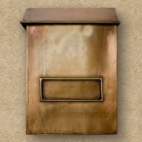 Brexton Vertical Wall Mount Copper Mailbox - Standard - Antique Copper by Maycreek. $148.95. Spice up your home's exterior with this vertical copper mailbox. It features a simple rustic design, as well as a premium Antique Copper finish that adds to its beauty. Handcrafted from 24 gauge copper. Available in two sizes: Standard mailbox measures overall: 10-1/2 L x 4-1/2 W (front to back) x 14-1/2 H (± 1/2 ). 7-1/2 center to center. Oversized mailbox measures overa...
