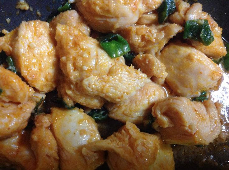 Miso chicken: Japanese miso, chicken, sesame oil, spring onion. Cut chicken in pieces, mix with miso, sesame oil (if miso is too dense, add some water), let the chicken in the sauce for 10-15 min. Pan-fry the chicken, lastly add sliced spring onion and pan-fry 1 min before ready.