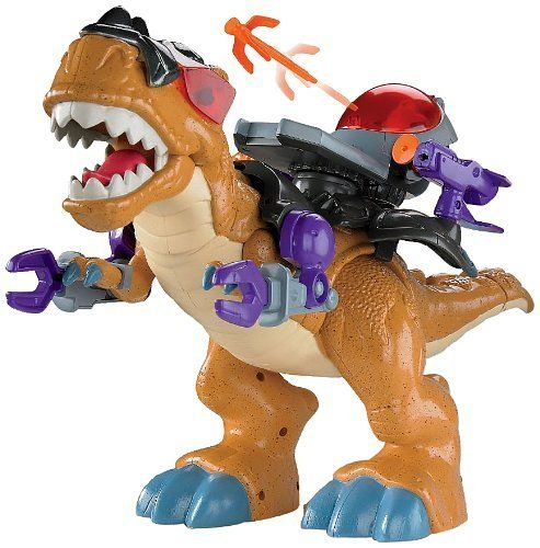 Fisher-Price Imaginext Mega T-Rex by Fisher-Price. $29.99. Amazon.com                 The Fisher-Price Imaginext Mega T-Rex will transport your child to a fantastical world of dinosaurs, robots, and soldiers. Designed for ages three and up, this motorized toy features enough interactive parts, sound effects, and snap-on accessories to keep your child occupied for hours. Standout features include two firing cannons, an opening cockpit, and a push button that makes T-Rex ...