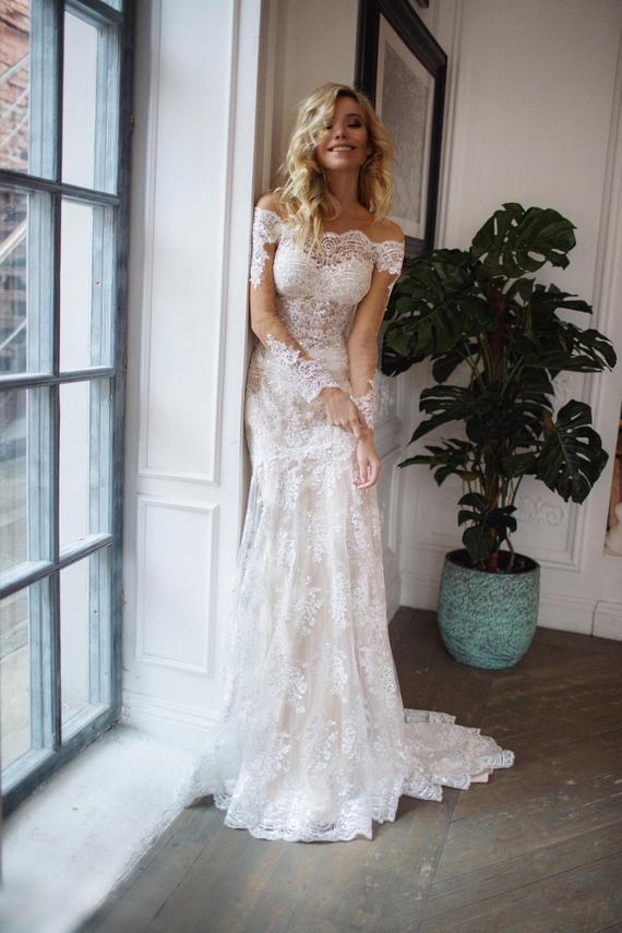 detachable train wedding dress Nektaria ,off the shoulder long sleev wedding dress , mermaid lace wedding dress – Lyndsay Gordon