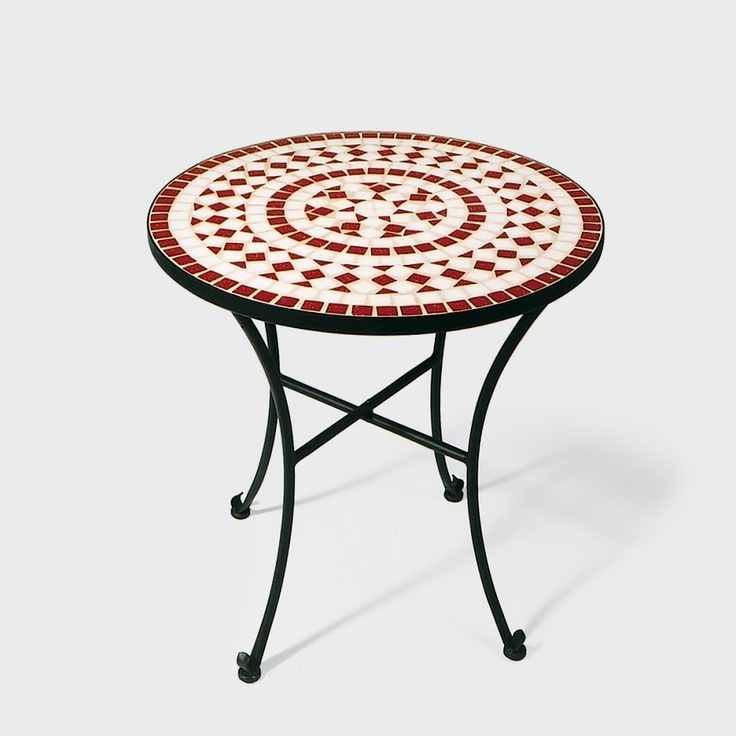 Attraktiv Mosaiktisch, Eisen Schwarz, Keramik: Rot/weiß, D/H 60x63 Cm