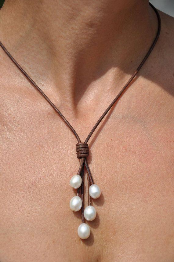 Perla y collar de cuero 5 Lariat perla por ChristineChandler