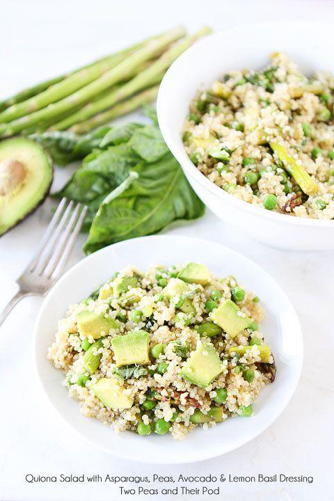 Quinoa Salad with Asparagus, Peas, Avocado & Lemon Basil Dressing Recipe on www.twopeasandtheirpod.com