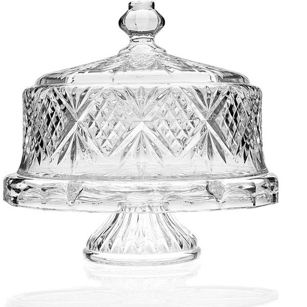 Dublin Footed Cake Plate with Dome (4.655 RUB) ❤ liked on Polyvore featuring home, kitchen & dining, serveware, footed cake plate, crystal serveware and crystal cake plate