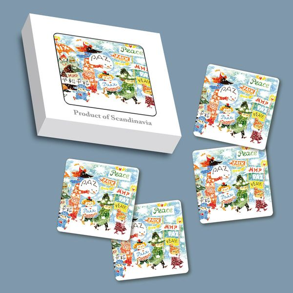 Handmade coasters  with a classic motif taken from Tove Jansson's original drawings. High quality wood, made in Sweden.  4 pcs. Look  here  for a full list of Unicef themed products.