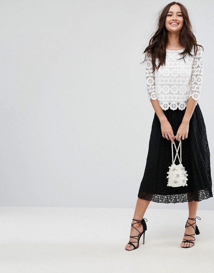 ASOS Pleated Lace Midi Skirt - Black