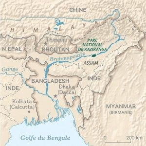 The Brahmapoutre river. Map created by Hugues Piolet for the National Geographic Magazine.