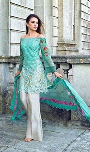 WYED - 1309- FULL EMBROIDERY Designer 3pc CHIFFON Suit With CHIFFON Dupatta