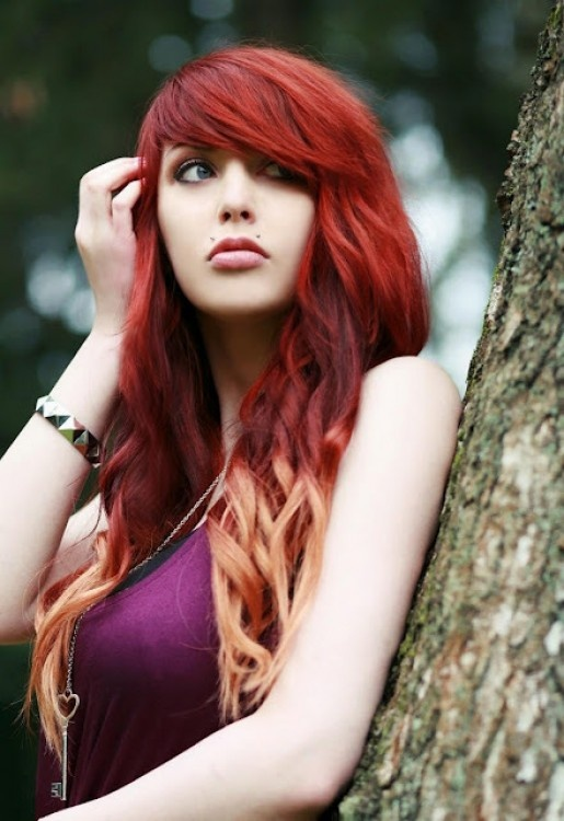 Hair coloring ideas - red hair with blond accents