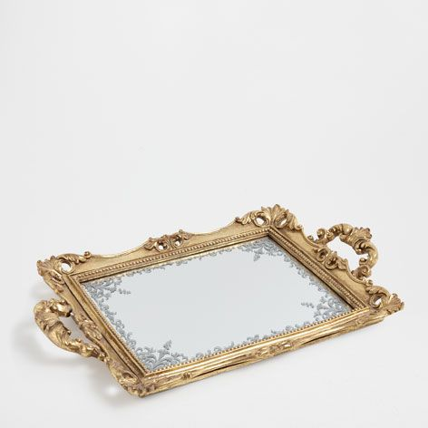golden mirror tray trays tableware zara home united. Black Bedroom Furniture Sets. Home Design Ideas
