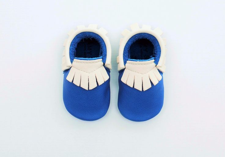 Exclusive colourway: Amy & Ivor Electric Blue/White Traditional Moccasins