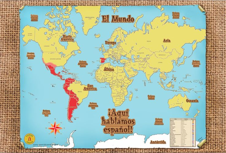 Your students will be amazed at how many countries speak Spanish. This map high-lights all areas of the world where the majority of the population speaks Spanish.  The map is also written completely in Spanish. It includes a table with the names of 21 Spanish-speaking countries, their capitals and flags.