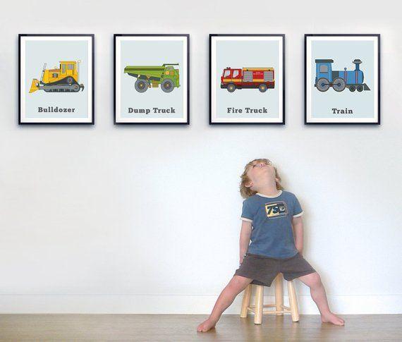 Toddler Room Wall Art Set Of Four Prints Transportation Print Set