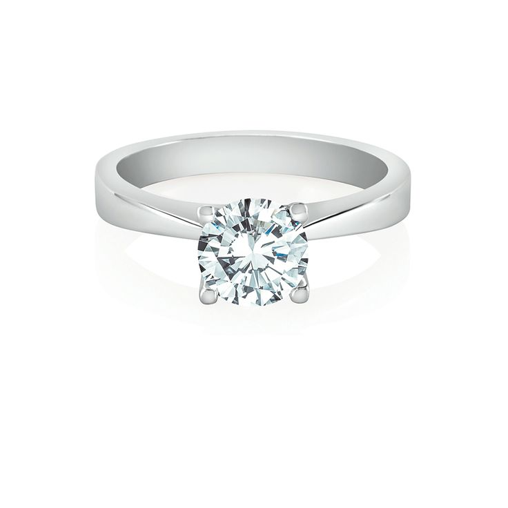 With strong yet delicate appeal, this sleekly tapering band leads the eye to our signature Amira setting, with a brilliant diamond of your choosing.