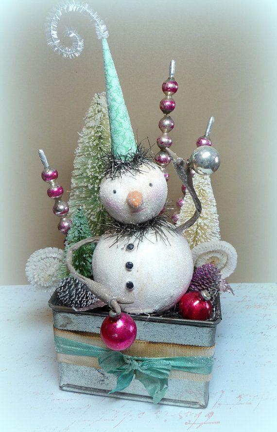 Holiday Decor Vintage Style Winter Wonderland by CatandFiddlefolk